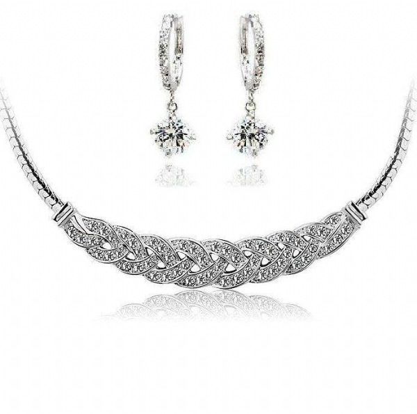 Pave Crystal Necklace and Earrings Set